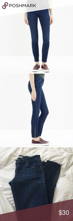 """Madewell skinny skinny zip jeans Our leanest, sexiest fit, cropped to show just the right amount of ankle and finished with an ankle zip (for a customizable look). Why they're so great: Our special denim has tons of stretch, never bags out and does life-altering things to the rearview. •Sit at hips. •Fitted through hip and thigh, with a slim leg. •Front rise: 8"""". •Inseam: 28"""". •Leg opening for size 25: 9 3/4"""". •93% cotton/6% poly/1% spandex. •Machine wash. •Import. Madewell Jeans Skinny"""