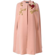 Dolce & Gabbana Rose Appliqué Cape (122.531.410 IDR) ❤ liked on Polyvore featuring outerwear, coats, jackets, pink cape, red cape, red cape coat, cape coat and pink cape coat