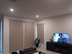 Roller Blinds in Living Room done by Majestic Curtains and Blinds Living Room Blinds, Roller Blinds, Curtains With Blinds, Window Coverings, Windows, Roller Shades, Window Dressings, Window, Ramen