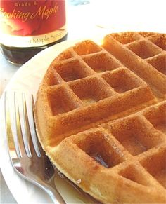 whole wheat waffles...apparently if you use a little orange juice in it, it takes away some of the whole wheat flavor.  We just made these and I would have sworn they were made with white flour except they were more filling.  yum