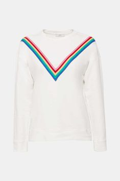 V wie victory: Diesem leichten Sweatshirt aus Baumwoll-Stretch geben die applizierten, bunten Streifen seinen einzigartigen Look! Komplette Outfits, Models, Neue Trends, Sweatshirts, Sweaters, Fashion, Sweater Cardigan, Stripes, Sewing Patterns