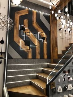 Stairs design for dublex office. Staircase Wall Decor, House Staircase, Stair Walls, Staircase Design, Wood Walls, Stair Lighting, Lighting Design, Door Design, Wall Design