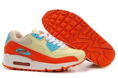 san francisco c51be 2608b Nike Air Max 90 femmes Beige Orange Bleu Rouge Cheap Air Max 90, Nike Air