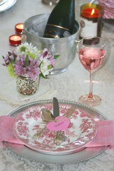valentine's dinner setting