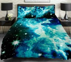 Anlye Galaxy Quilt Cover Galaxy Duvet Cover Galaxy Sheets Space Sheets Outer Space Bedding Set with 2 Matching Pillow Covers (QUEEN)