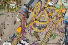 A rollercoaster track twists and turns to form an incredible colourful image at this amusement park in Southend-on-Sea