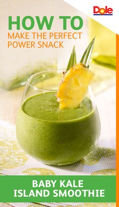 How to Make the Perfect Power Snack / Baby Kale Island Smoothie  -  Mix up a nutritious smoothie loaded with tropical fruits. This recipe combines the exotic, refreshing taste of DOLE® Canned 100% Pineapple Juice with filling, good-for-you ingredients like baby kale and mango. Get the recipe at dolepineapplejuice.com.