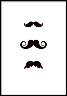 Svartvit hipster poster. Tavla med mustasch
