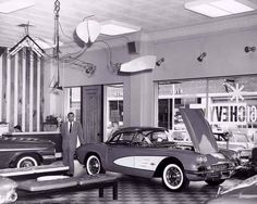 "Ernest Victor ""Vic"" Yingling owner of the ill-fated and infamous Yingling Chevrolet in Wichita, KS, with a 1961 Corvette. 1961 Corvette, Chevrolet Corvette, 1961 Chevy Impala, Chevrolet Dealership, Car Advertising, Ads, Old School Cars, Vintage Cars, Vintage Auto"