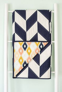 Baby Toddler Modern Herringbone Quilt - Navy Herringbone, Tribal Fabric, Peach…