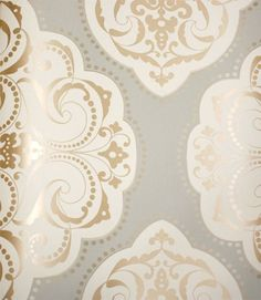 Gray cream and gold damask. This may be one of my top picks for the powder room. SW0CM1405