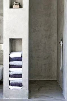7 Amazing Bathroom Design Ideas (That Will Trend In For the past year the bathroom design ideas were dominated by All-white bathroom, black and white retro tiles and seamless shower room Towel Storage, Bathroom Storage, Bathroom Interior, Towel Shelf, Wall Storage, Attic Bathroom, Budget Bathroom, Basement Bathroom, Bathroom Towels