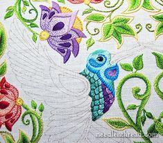 Secret Garden Embroidery Project - Hummingbird - Textured Stitch