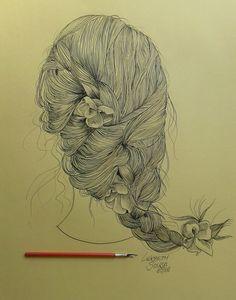 Cabelo  Desenho feito com bico de pena  Papel tilibra Académie