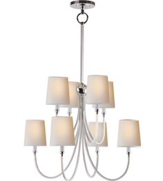 visual comfort np thomas o brien reed large chandelier in polished nickel with natural paper shades Large Chandeliers, Mini Chandelier, Circa Lighting, Chandelier Lighting, Foyer Chandelier, Visual Comfort Lighting, D House, Contemporary Chandelier, Dining Room Lighting