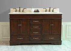 "Virtu USA Oxford 60""Double Sink Bathroom Vanity Antique Oak Finish - needs different legs, different finish"