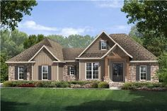 This well-done traditional home (House Plan # 142-1075) has over 1760 square feet of living space. The one story floor plan includes 3 bedrooms and 2 bathrooms. | The Plan Collection