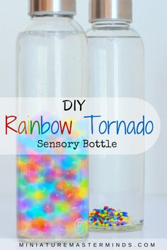 DIY Rainbow Tornado Sensory Bottle This simple project is easy to do and so much fun to watch! What you need: A leak proof bottle such as these cool looking bottles from Practico Kitchen. Water Bea…