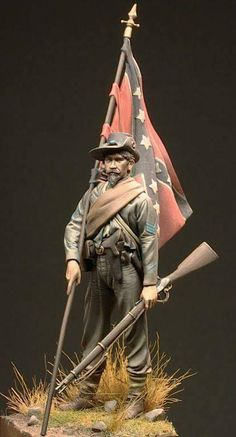 Pinned by Pinafore Chrome Extension Military Figures, Military Diorama, Military Art, Military History, Confederate States Of America, Confederate Flag, American Civil War, American History, Civil War Art