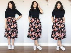 saia midi, moda, look do dia, ootd, estilo, saia, floral, body, tenis branco, estilo, inspiração