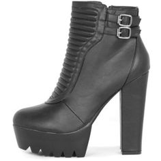 Daria Black Ribbed Biker Boot