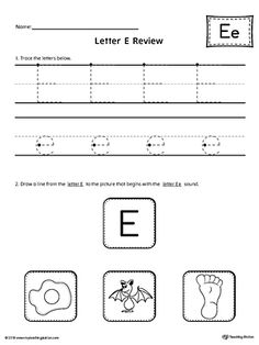 Letter E Review Worksheet Worksheet.Use the Letter E Review worksheet to help your student practice tracing and identifying the beginning sound of the letter E.