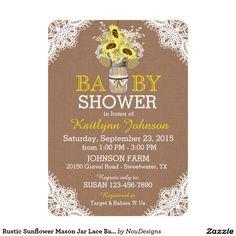 Rustic Sunflower Mason Jar Lace Baby Shower Invite