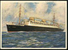 """Buque alemán """"Europa"""", de la Norddeutscher Lloyd Bremen, que poseía una catapulta de lanzamiento de hidroaviones para acelerar la llegada del correo a su destino"""