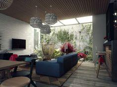 une maison ouverte sur l'extérieur et la vegetation