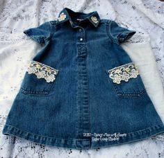 Altered Blue Jean UPCYCLED DRESS with Vintage by sugarlumpstudios, $19.95
