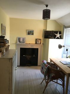 newly painted studio to inspire, (Farrow and Ball Pale Hound and Everlong chalk paint Earl Grey), Dawn Newbigging painting Farrow And Ball Living Room, Farrow And Ball Kitchen, Bedroom Color Schemes, Colour Schemes, Bedroom Colors, Wall Colours, Paint Colours, Yellow Interior, Terraced House
