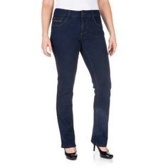 Faded Glory Women's Straight Leg Jeans Available in Regular, Petite, and Tall Lengths, Size: 8 Petite, Gray