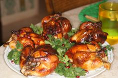 Roasted Brined Cornish Game Hens with Pomegranate Sauce