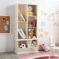 Classic Playtime Hopscotch Vanilla Tall Bookcase with Optional Stackable Storage Bin | www.hayneedle.com