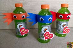 Ninja Turtle Valentine Drink Materials: Green drink (we used Gatorade since we had it on hand, but there are many different kinds of drinks they have in green) Colored felt Scissors Oval wiggle eyes Glue (I used hot glue) Printable Valentine Cutout Directions: Start off by cutting strips of felt to wrap around your drink, next cut a smaller strip of felt and cut the ends of it (cut a v out of the ends) Fold and glue in half at an angle, glue on your first ribbon then glue on the second…