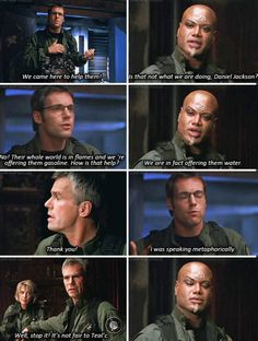 "Jack, Daniel, and Teal'c --It helps to understand this this case that the water being offered was ""heavy water"" for atomic power"