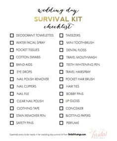 Items Every Bride Needs in Her Wedding Day Survival Kit - Bridal Musings The Swanky Rooster is venturing into the wedding arena. Check out our new printable wedding planner. With over 100 pages, your planning will be complete! Wedding Day Tips, Before Wedding, Wedding Planning Checklist, Budget Wedding, Wedding Ideas, Trendy Wedding, Wedding Reception, Wedding Stuff, Wedding Inspiration