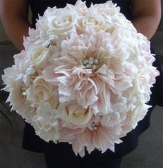 Pink dahlias and white roses wedding bouquet! So pretty!!