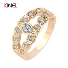 Silver&Gold Plated CZ Diamond Wedding Ring Vintage Leaf Boho Style Fine Jewelry For Women ZK Best Gift A-0316 Wholesale