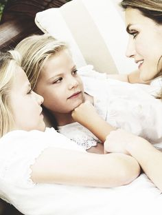 Princesses Leonor and Sofia of Spain with their mother Princess Letizia.