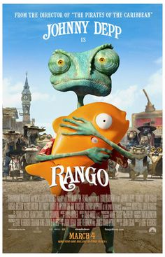 A great Rango movie poster for kids! Johnny Depp lends his vocal talents to the wonderful animated film starring the lovable Chameleon. Ships fast. 11x17 inches.