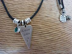 $50 - Heart with Swarovski Crystal Birthstone - Inspirational handmade gemstone jewellery Earth Jewel Creations Australia