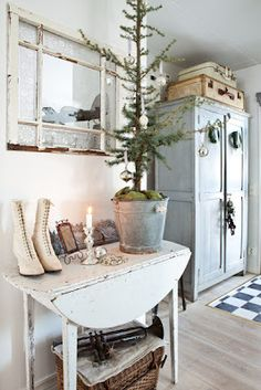 *christmas tree, cabinet, old window, chippy table