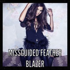 "MISSGUIDED ""Birds of a Feather"" Blazer Missguided black feather trimmed blazer size 4.  New Missguided tag still attached Missguided Jackets & Coats Blazers"