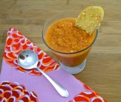 Roasted yellow heirloom tomatoes are the foundation to this gazpacho.