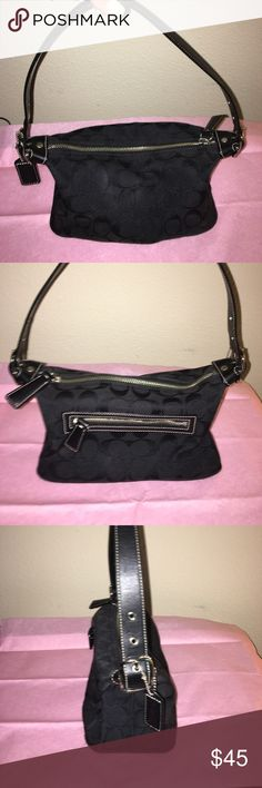 Black Coach Purse Cute Black Coach Purse. Stores just enough for a casual day out. In excellent condition. Purse size 8 1/2 x 4 1/2. Coach Bags Shoulder Bags