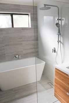 Walk In Shower - Freestanding Against Wall Bath - Feature Wall - Modern Bathroom - On the Ball Bathrooms - West Perth Renovation Wet Room Bathroom, Steam Showers Bathroom, Bathroom Layout, Modern Bathroom Design, Bathroom Interior Design, Bathroom Ideas, Bathroom Feature Wall, Bathtub Ideas, Neutral Bathroom