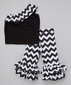 Look at this #zulilyfind! Black Zigzag Top & Ruffle Pants - Infant, Toddler & Girls by Beary Basics #zulilyfinds