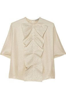Vika Gazinskaya Ruffled metallic silk top | THE OUTNET