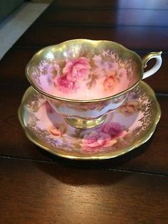 Vintage Royal Albert Pink & Gold Portrait Series Cup & Saucer Rose Floral